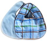 Caden Lane Bib 2-Pack in Blue Solid & Blue Plaid