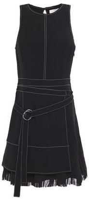 Cinq à Sept Carver Belted Pleated Georgette-paneled Crepe Mini Dress