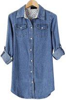 OCHENTA Women's Long Sleeve Denim Shirt Fitted Blouse Tops with Roll Up Sleeves