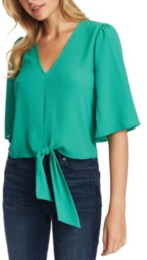 1 STATE Flounce-Sleeve Tie-Front Top