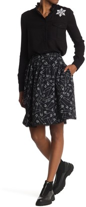 Love Moschino Flare Skirt With Allover Pins Print