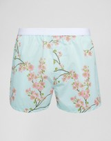 Asos Woven Boxers With Floral Print