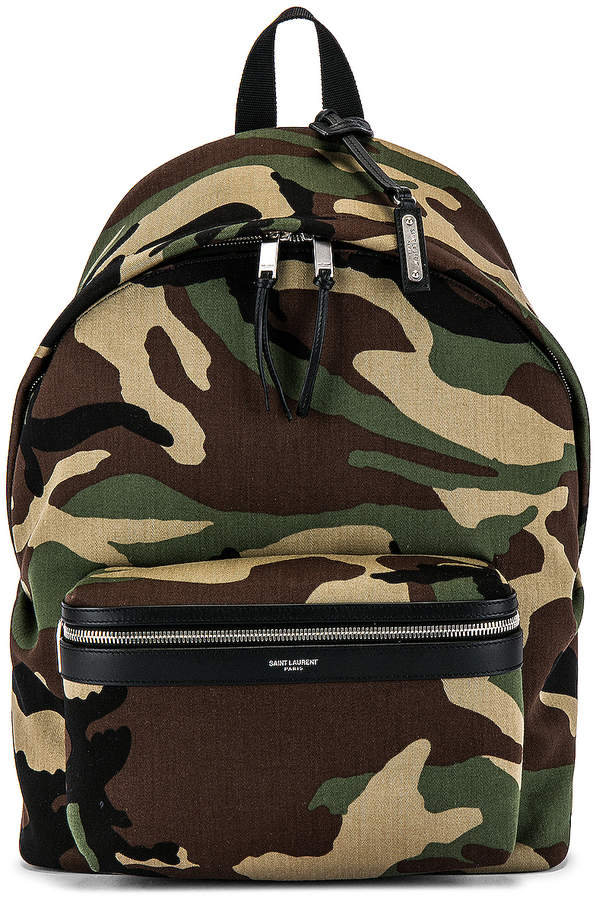 Saint Laurent City Backpack in Camo & Black | FWRD