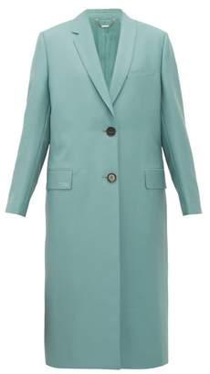 Fendi Single-breasted Mohair-blend Coat - Womens - Blue