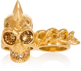Alexander McQueen Punk Skull And Chain Two Finger Ring