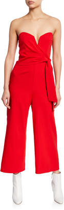 Astr Zion Cropped Strapless Tie-Front Jumpsuit