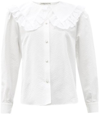 Alessandra Rich Ruffled-collar Cotton-blend Blouse - White