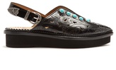 Toga Embellished point-toe leather flats