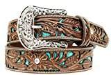 Ariat Women's Blue Inlay Floral Bling Belt Accessory, -brown