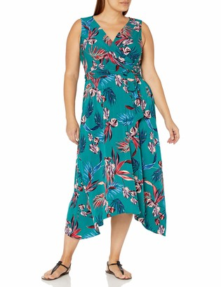 Donna Morgan Women's Plus Size Halter Neck Asymmetrical Hem Floral Print Matte Jersey Maxi Dress
