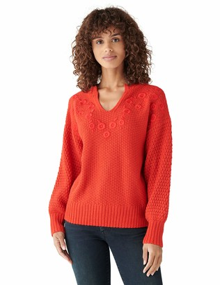 Lucky Brand Women's Long Sleeve Notch Neck Embroidered Sweater