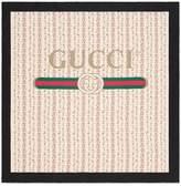 Gucci logo rose print silk scarf
