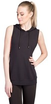 Women's Cross Back French Terry Sleeveless Hoodie - Velvet Rose