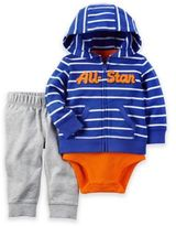 "Carter's 3-Piece ""All-Star"" Little Jacket, Bodysuit, and Pant Set in Blue/Orange"