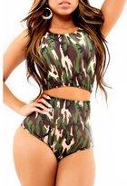 Lucky Girl Print Top and High Waist Bottom Bikini Swimsuit Set (XL, )