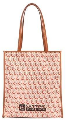 Connolly - Geometric-print Canvas And Leather Tote Bag - Womens - Red Multi