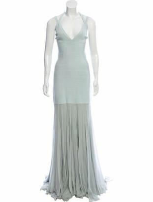 Herve Leger Silk-Paneled Bandage Gown Mint