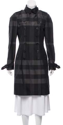 Burberry Double-Breasted Plaid Coat