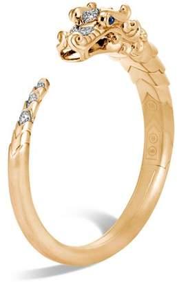 John Hardy Brushed 18K Yellow Gold Legends Naga Pavé Diamond Small Kick Cuff with Sapphire Eyes