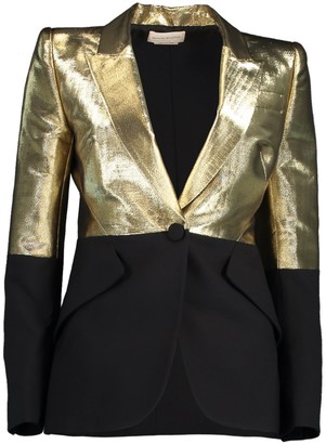 Alexander McQueen Black and Gold One Button Jacket