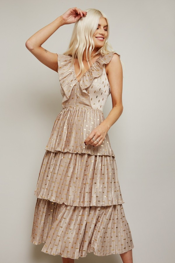 Thumbnail for your product : Little Mistress Aleksey Cream And Gold Spot Satin Tiered Midi Dress