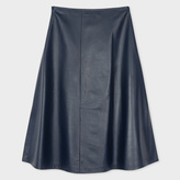 Navy Leather Skirt - ShopStyle