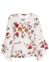 Quiz Cream Floral Print Frill Sleeve Wrap Top