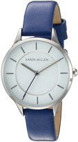 Karen Millen Women's Quartz Brass-Plated-Stainless-Steel and Leather Dress Watch, Color:Blue (Model: KM133UA)
