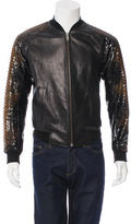 Alexander McQueen Leather & Python Bomber Jacket