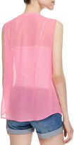 French Connection Solar Spells Crystal Pleated Tank Top, Pink