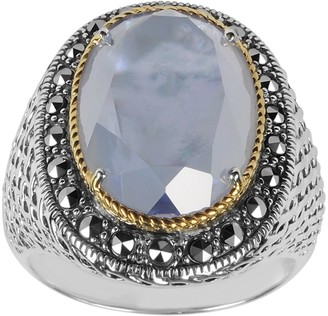 Mother of Pearl Suspicion Sterling Marcasite Mother-of-Pearl Doublet Ring