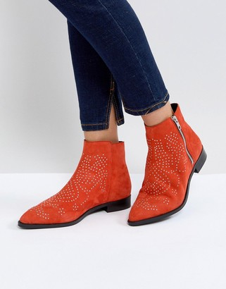 Asos Design AUTO PILOT Suede Studded Ankle Boots-Red