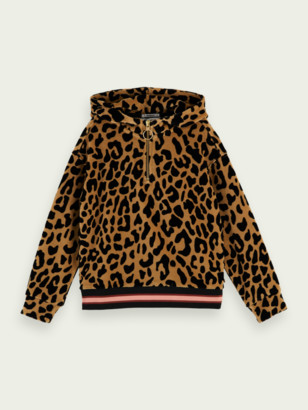 Scotch & Soda Oversized velour leopard pattern hoodie | Girls