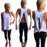 Landfox Women Summer Vest Top Sleeveless Blouse Casual Tank Tops T-Shirt (L)