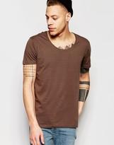 Weekday Daniel Scoop Neck T-Shirt in Mole Gray
