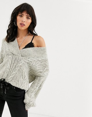 Asos DESIGN oversized v neck chunky cable sweater