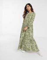 Asos Design DESIGN tiered maxi dress in khaki leopard print