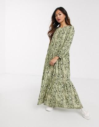 ASOS DESIGN tiered maxi dress in khaki leopard print