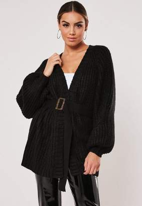 Missguided Black Balloon Sleeve Belted Cardigan