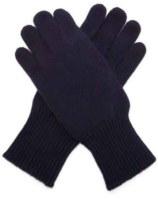 Brunello Cucinelli Cashmere And Suede Gloves - Navy