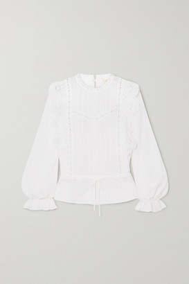 Maje Crocheted Lace-trimmed Broderie Anglaise Cotton-voile Blouse - White