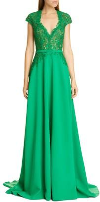 Pamella Roland Sequin & Flower Embellished Stretch Crepe Gown
