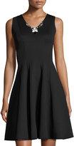 Donna Ricco Jewel-Embellished Fit & Flare Scuba Dress, Black
