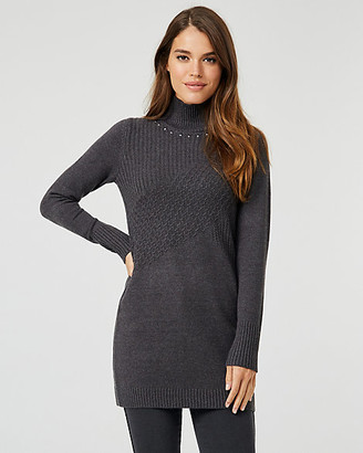 Le Château Knit Mock Neck Sweater Dress