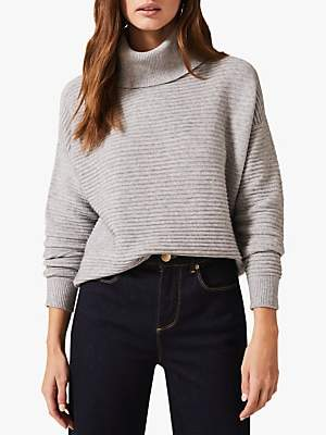Phase Eight Rocco Roll Neck Jumper, Pale Grey