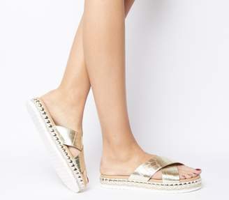 Office Sincere Studded Cross Strap Sandals Gold Croc Leather