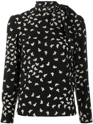 RED Valentino Butterfly-Print Pussy-Bow Blouse