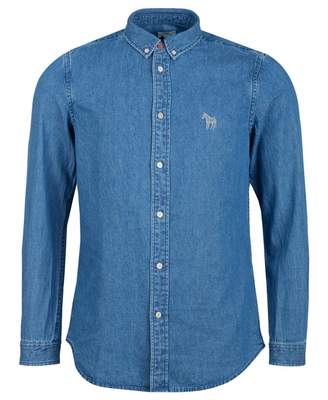 Paul Smith Embroidered Zebra Denim Shirt Colour: MID WASH, Size: MEDIU