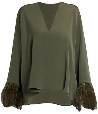 Valentino Feather-Trimmed Silk Top