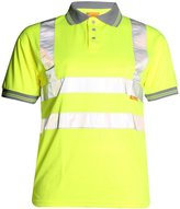 Forever Hi Viz Work Wear Grey Collar Safety Visibility Polo T-Shirt (M, )